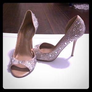 Aldo satin champagne gold rhinestone sandals